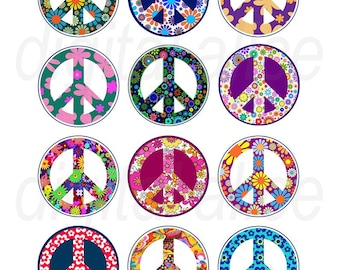 PEACE SIGNS Craft Circles - hippie FLOWER POWeR 60's Peace Signs - Instant Download Digital Printable-  -Bottlecaps ,stickers,pendants