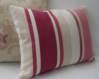 Red Stripe Cushion, Laura Ashley Cushion, Decorative Pillow, Scatter Cushion, Accent Pillow, Red & Beige Cushion, Zipped Cushion