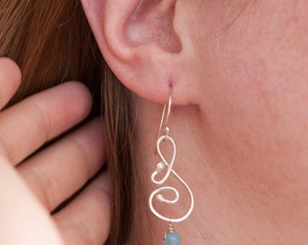 Aquamarine Argentium Sterling Silver Musical Melody Earrings