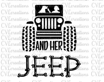 A Girl...her dog or dogs and her Jeep PNG SVG DXF