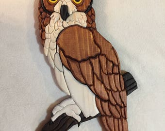 Great Horned Owl Intarisa Carving