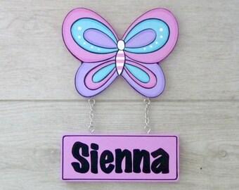 Butterfly, Door sign, Girls name sign, Kids room sign, kids name sign, Custom name sign, Nursery decor - butterfly nursery decor