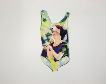 Vintage Disney Snow White Tye  Dyed Body Suit with the original tag, Juniors size Large, In New Condition