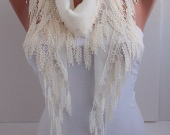 Creamy Scarf Cotton Scarf  Ivory Scarf Headband - Cowl with Lace Edge Hair Accessory