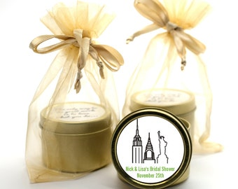 New York City - Bridal Shower Candle Gold Tin Favor or Wedding Candle Gold Tin Favor (Set of 12) - Personalized Round Gold Tin Container