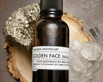 Facial Oil Oily / Combination Skin - GOLDEN FACE - Face Oil, Facial Serum, Natural Moisturizer, Cold Pressed Oil, Grapeseed, Pumpkin Seed