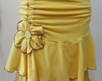 maize color with elastic gathering design knee length skirt with two roses two layers skirt plus made in USA