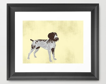 German wire haired dog art  - Fine art print, german wirehaired dog, silhouette , illustration ,pet , animal