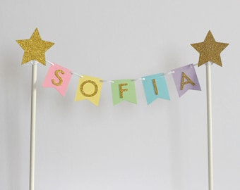 Personalised name pastel color cake topper bunting, gold glitter cake topper, pastel cake topper, birthday cake topper, cake decor