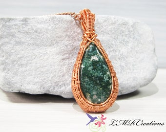 Copper Wire Wrapped Ocean Jasper Necklace, Wire Woven Gemstone Pendant, Copper Jewelry