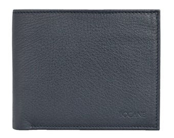 Slim Leather Wallet, Bifold, Pebbled Blue-Black Leather