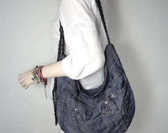 Denim bag cross body and shoulder slouchy hobo up-cycled jeans gray