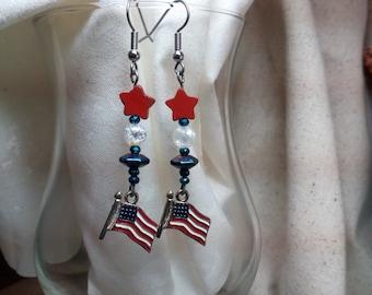 patriotic earrings with flag