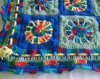 Primary color afghan for baby, boy or girl