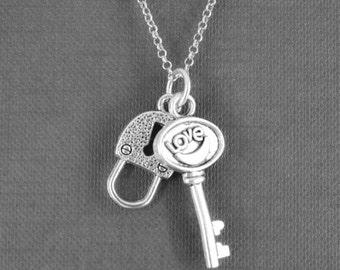 Heart Necklace, Key Necklace, Locket Necklace, Charm Necklace, Sterling Silver Necklace, love necklace