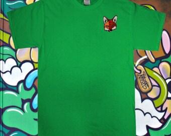 Ladies 'Fox Face' design t-shirt - one size - green, black - spring summer