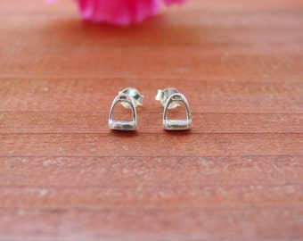 Tiny Stirrup Horse Stud Earrings Sterling Silver,Equestrian Jewelry,Stirrup Jewelry