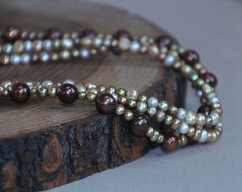 Shades of Gold 3 Strand Freshwater Pearl Necklace