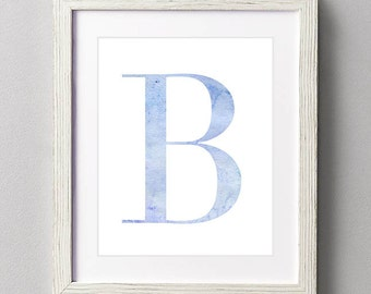 Letter B | Nursery Print | Nursery Art | Alphabet | Instant Download | Digital Print | Wall Art | Baby Boy | Initials | Blue | Watercolor