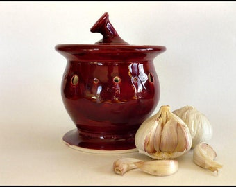 Garlic Jar, Ceramic Garlic Jar, Ceramic Garlic Pot, Garlic Pot, Garlic Keeper, Shallot Pot, Foodie Gift, Garlic Storage, Cook / Teacher Gift
