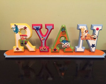 CUSTOM 6 X 4'  Wooden Wall Letters for Nursery or Child's Bedroom - Circus Theme, Hanging or with optional base.