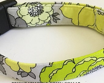 Bright Yellow & Green Premade Summer Collar for Girl Dog