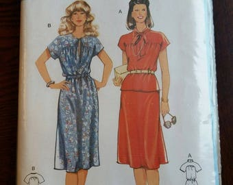 Vintage Burda 1980s 8347 Women's Dress Skirt And Top Sewing Pattern Tie Neck Cinched Waist