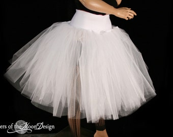 All White Victorian Romance Tutu skirt extra poofy knee length Adult with UNDERSKIRT-- You Choose Size -- Sisters of the Moon