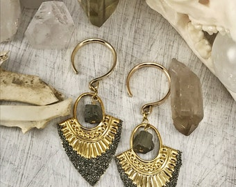 Pyrite Ear Weights, brass ear weights, dangle plugs, plug weights, wedding plugs, dangles for gauged ears, dangle plugs, plugs, gauges