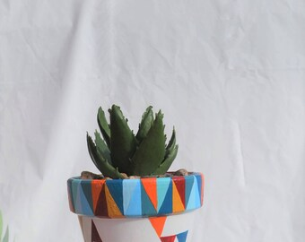 Hand painted Scandi Triangles Inspired Plant Pot