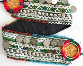 Green Kuchi Afghan vintage coin belt Authentic nomad handmade Obi belt Belly dancer statement jewelry Tribal Ethnic treasure by Inali