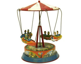 1950s Tin Toy Carousel with Airship. Blomer & Schuler Lithograph Carnival Fairground Swing. Vintage Kids Room Decor.