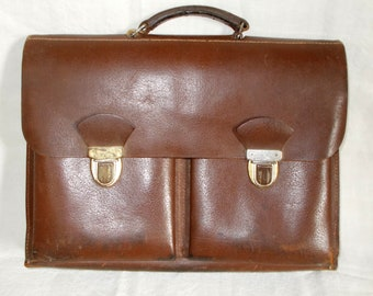 Old mid century Leather Satchel, Brown Leather School Satchel, Work Satchel Briefcase, worn Vintage leather