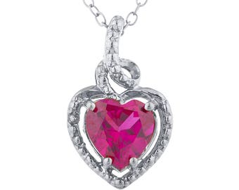 1.5 Ct Ruby Heart Design Pendant .925 Sterling Silver