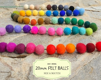 100 Wool Felt Beads, Mix and Match 20 mm/2 cm Wool Felt Balls, Multicolored Felted Balls in Bulk, Felted Beads, 100% Wool Felt Pom Poms