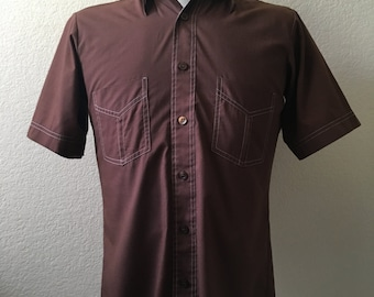 Vintage Men's 70's Brown, Shirt, Short Sleeve, Button Down by Towncraft (S)