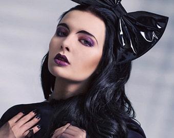 Black latex PVC hair bow fascinator headband or comb