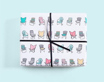 Retro Mid Century Gift Wrap / Lawn Chair Print / Vintage Chairs / Eames Chair / Bertoia Chair / Butterfly Chair / Cute Wrapping Paper