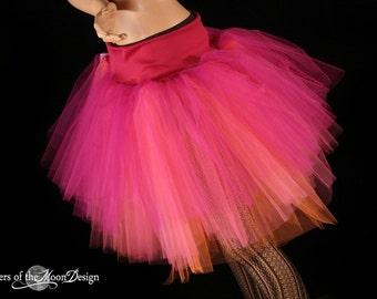 tutu skirt Adult Three Layer Petticoat fuchsia hot pink orange halloween bridal -- You Choose Size -- Sisters of the Moon