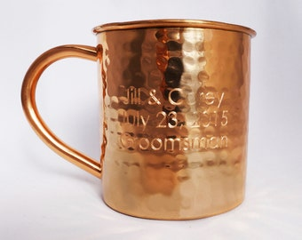 Hammered Copper Mug - 14 oz — Engraved