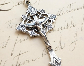 Trefoil Crucifix - Sterling Silver Antique Replica