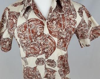 494 - Vintage Sears Hawaii Aloha Hawaiian shirt Small? Medium? repair