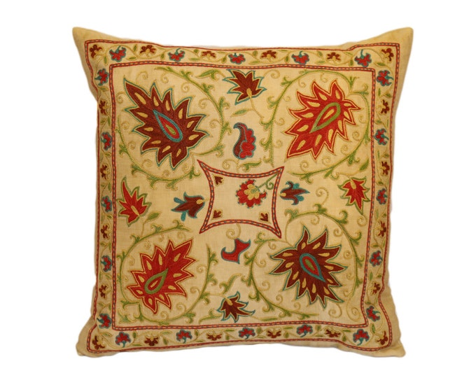 Handmade Suzani Silk Pillow Cover SP36 (EMP907), Suzani Pillow, Uzbek Suzani, Suzani Throw, Suzani, Decorative pillows, Accent pillows