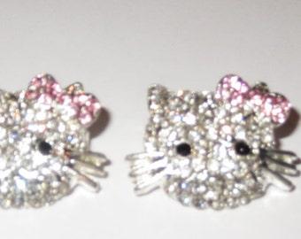 Hello Kitty Silver Plated Clear Rhinestone Charm 17x24 MM