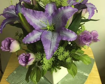 Royal Purple Day Lilies and Roses
