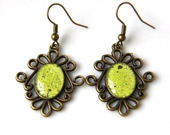 Lime enamel earrings, handpainted green dangle, pistachio earring, fresh green dangle, green enameled metal earring