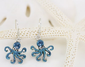 Sterling silver octopus dangle drop earrings hand enameled electric blue. Nautical, sea life, creature, beach earrings.