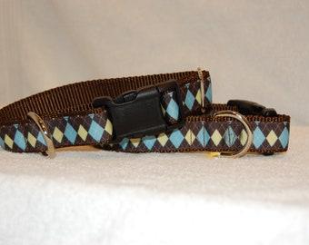 Brown Argyle Dog Collar