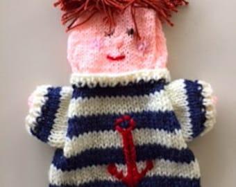 hand puppet sailor, knitted seaman