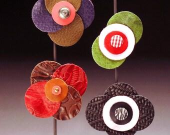 Leather Flower Clip Barrette